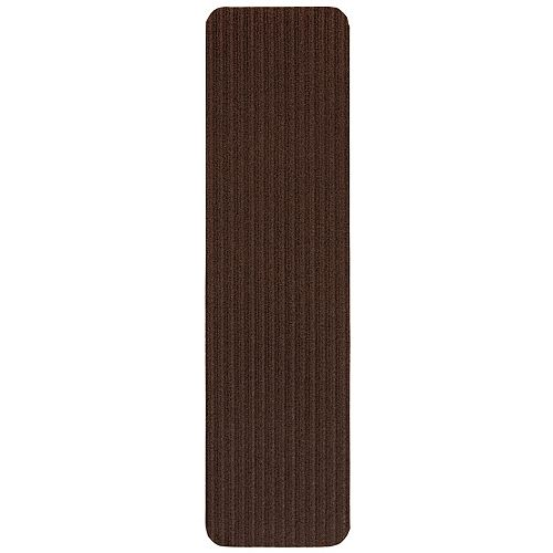 Scrape Rib Collection Brown 8-inch x 30-inch Black Latex Back Stair Tread Cover (Set of 14)