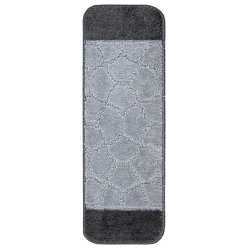 Softy Collection Grey Bordered Design 9-inch x 26-inch Rubber Back Stair Tread Cover (Set of 7)