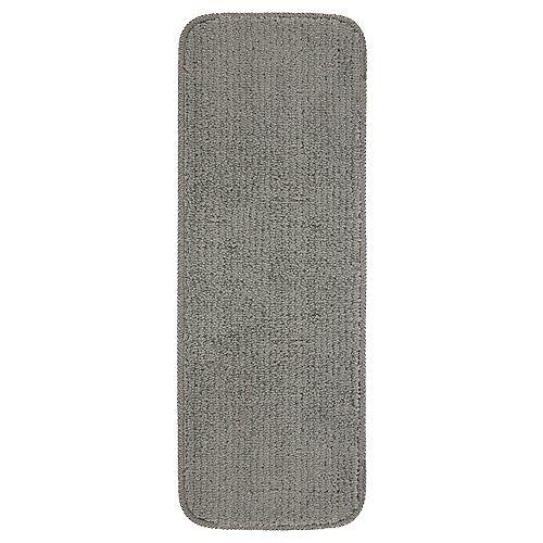 Couvre-marche avec endos en caoutchouc, 9 po x 31 po, Softy, gris, ensemble de 7