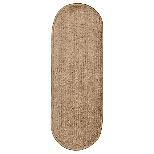 Softy Collection Beige 9-inch x 26-inch Rubber Back Oval Stair Tread Cover (Set of 14)