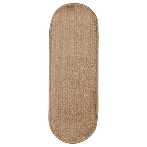 Softy Collection Beige 9-inch x 26-inch Rubber Back Oval Stair Tread Cover (Set of 7)