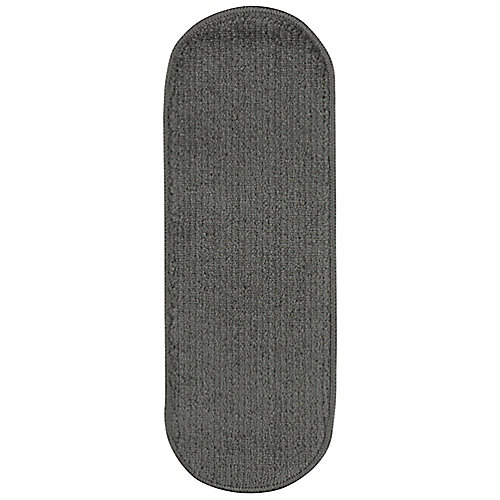 Softy Collection Dark Grey 9-inch x 26-inch Rubber Back Oval Stair Tread Cover (Set of 7)