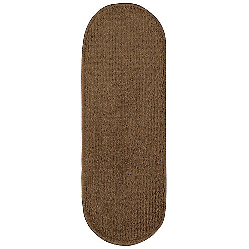 Softy Collection Brown 9-inch x 26-inch Rubber Back Oval Stair Tread Cover (Set of 14)