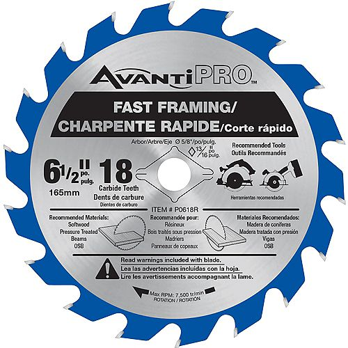 6 1/2-inch x 18 Tooth Carbide Tipped Fast Framing Circular/Trim Saw Blade for Wood Cutting