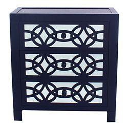 Decorline Glam Slam 3 Drawer Navy Blue Cabinet