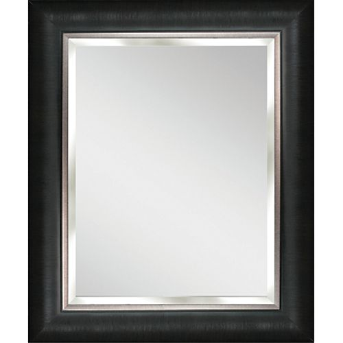 Deco Mirror 29 in. x 35 in. Black and Silver Wall Mirror