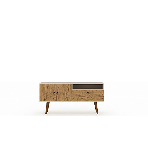 Tribeca 53.94 TV Stand in Off White and Nature
