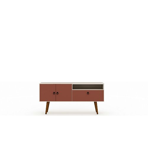 Tribeca 53.94 TV Stand in Off White and Terra Orange Pink