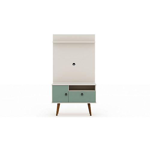 Tribeca 35.43 TV Stand and Panel in Off White and Green Mint