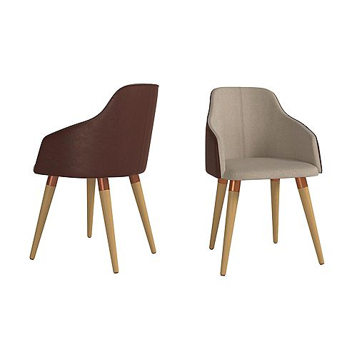 Martha Accent Chair  Set of 2 in Brown