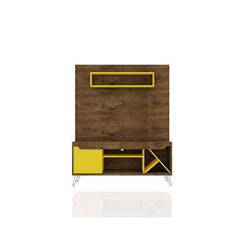 Baxter 53.54 Freestanding Entertainment Center in Rustic Brown and Yellow