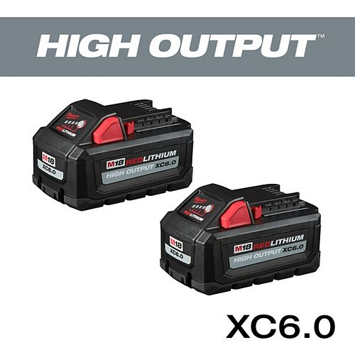 M18 18V Lithium-Ion High Output 6.0Ah Battery Pack  (2-Pack)