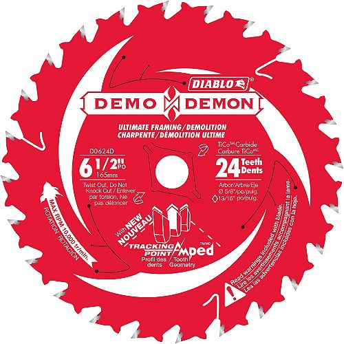 Lame de Demo Demon 6-1/2 po x 24-dents