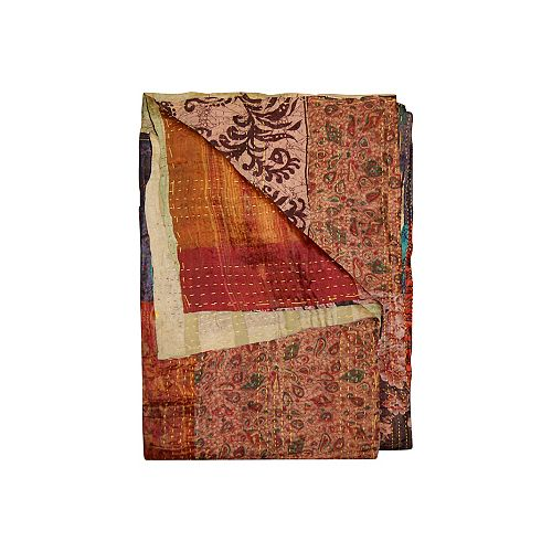 Kantha Orange/Burgundy/Red Silk Throw Blanket