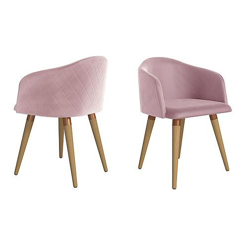 Kari Accent Chair  Set of 2 in Rose Pink