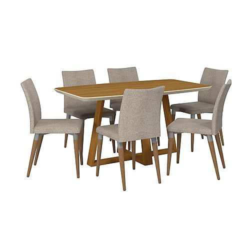 Manhattan Comfort Duffy 62.99 Rectangle Dining Table and Charles Dining Chair Set of 7 in Cinnamon Off White and Grey