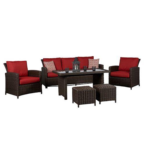 Beaumont 6PC jeu de conversation en table haute avec de coussin rouge