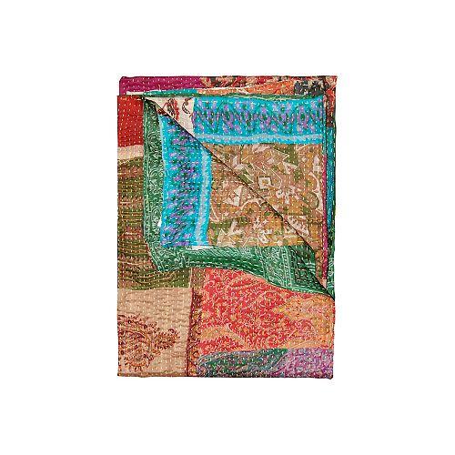 Jeté En Soie Kantha  Turquoise/Vert/Orange/Rouge