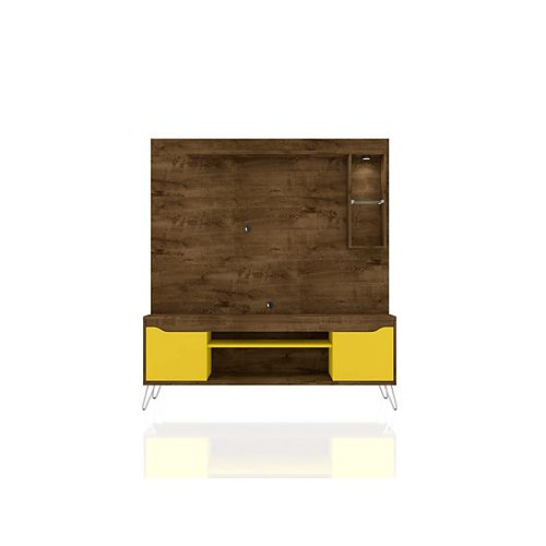 Baxter 62.99 Freestanding Entertainment Center in Rustic Brown and Yellow