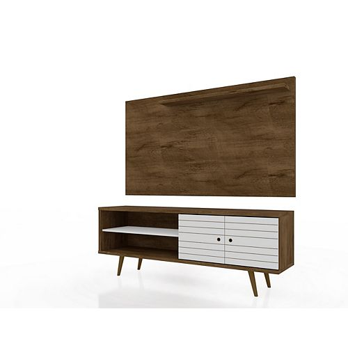 Manhattan Comfort Liberty 62.99 TV Stand and Panel in Rustic Brown and White