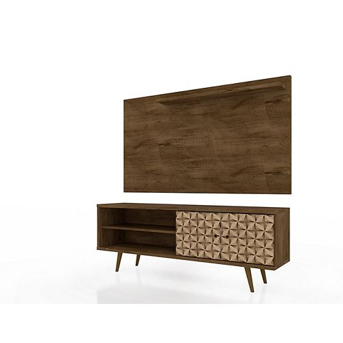 Manhattan Comfort Liberty 62.99 TV Stand and Panel in Rustic Brown and 3D Brown Prints