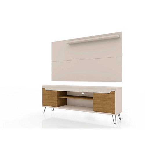 Manhattan Comfort Baxter 62.99 TV Stand and Liberty Panel in Off White and Cinnamon