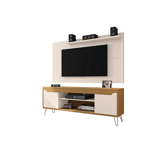 Baxter 62.99 TV Stand and Liberty Panel in Off White and Cinnamon