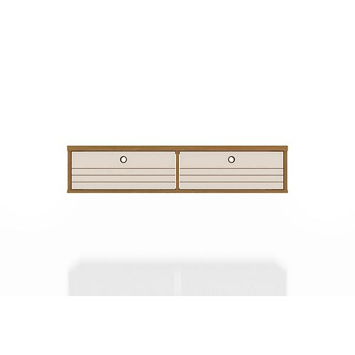 Liberty 42.28 Floating Office Desk in Cinnamon and Off White