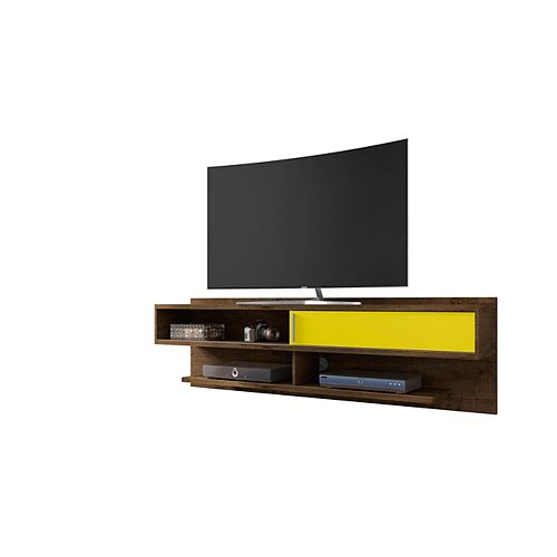 Manhattan Comfort Astor 70.86 Floating Entertainment Center in Rustic Brown and Yellow