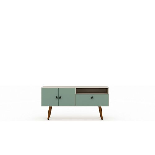 Tribeca 53.94 TV Stand in Off White and Green Mint