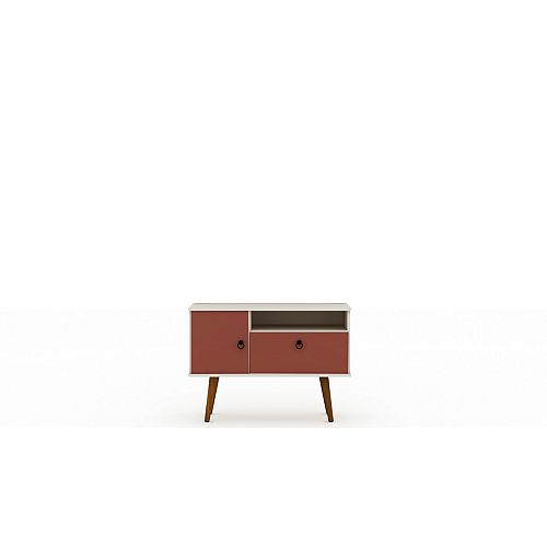 Tribeca 35.43 TV Stand in Off White and Terra Orange Pink