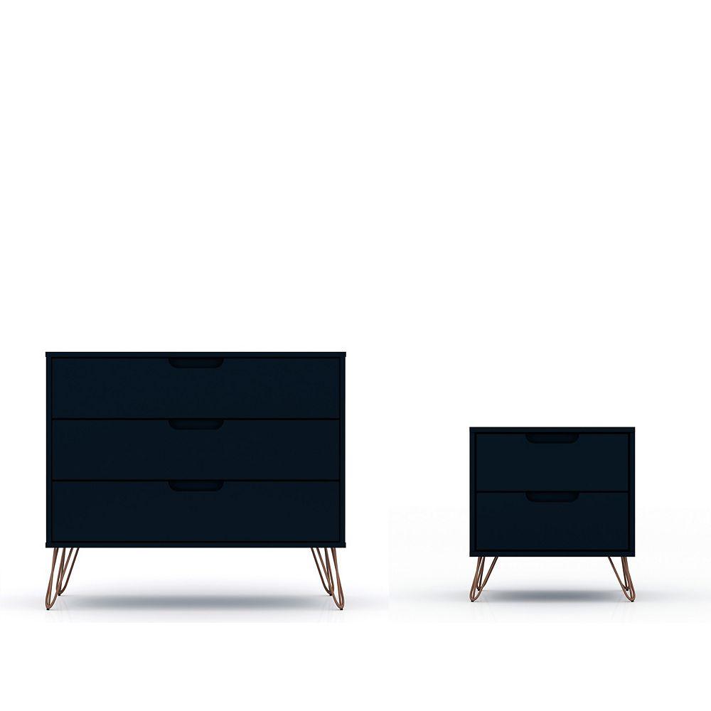 Manhattan Comfort Rockefeller Dresser And Nightstand Set In Tatiana Midnight Blue The Home Depot Canada