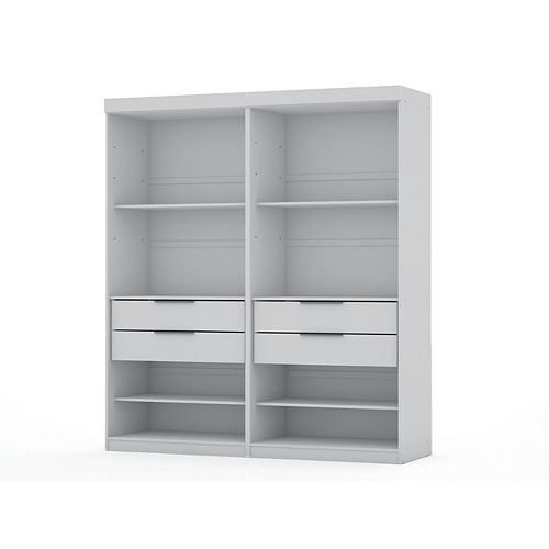 Manhattan Comfort Mulberry Open 2 Sectional Closet  Set of 2 in White