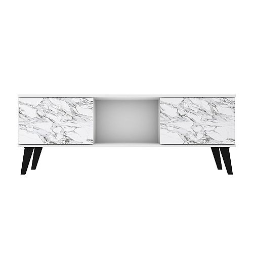 Doyers 53.15 TV Stand in White and Marble Stamp