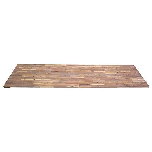 96x25.5x1 inch Acacia Hardwood Countertop, Organic White Food-Safe Hardwax Oil Stain