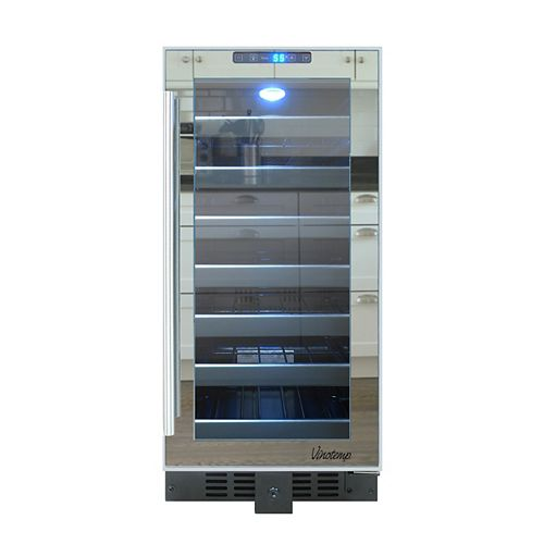 14.75 in 33-Bottle Mirrored Touch Screen Freestanding Wine Cooler