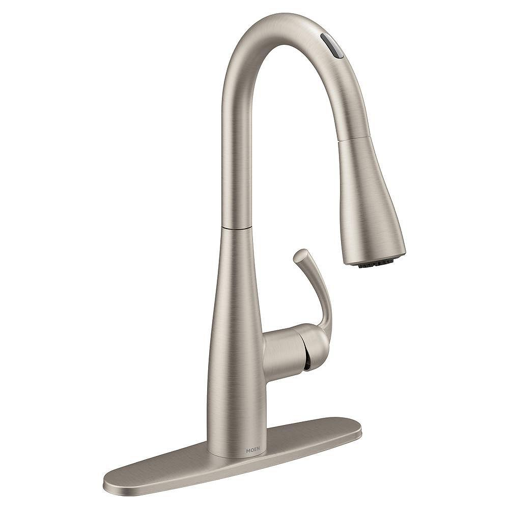 Moen U By Moen Essie Pull Down Sprayer Smart Kitchen Faucet With Voice Control In Spot Res The Home Depot Canada
