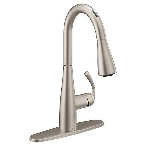 U by Moen Essie Pull-Down Sprayer Smart Kitchen Faucet with Voice Control in Spot Resist Stainless