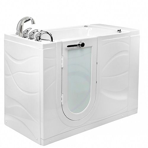 Ella Chi 4 ft. 4-inch Alcove Left Drain Whirlpool and Air Walk-in Bathtub in White, Fast Fill Faucet