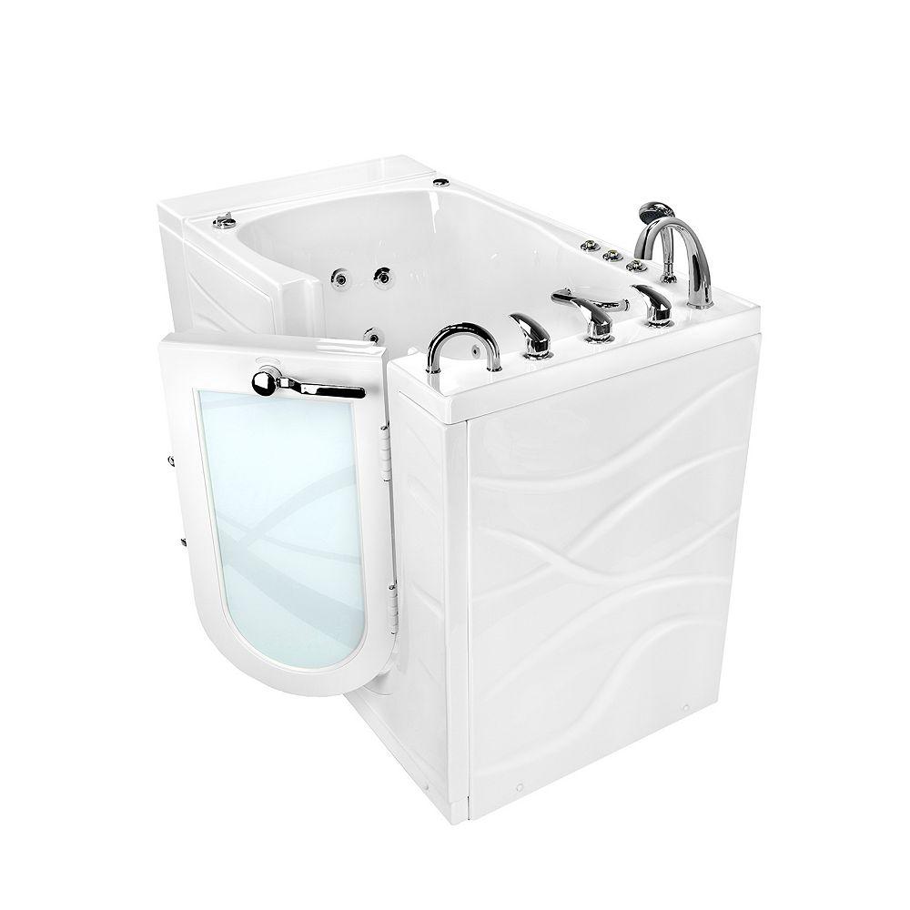 Ella Monaco 4 ft. 4-inch Alcove Right Drain Whirlpool and Air Walk-in Bathtub in White, Fast Fill Faucet