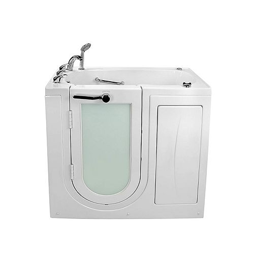 Ella Mobile 3 ft. 9-inch Alcove Left Drain Whirlpool and Air Walk-in Bathtub in White, Fast Fill Faucet
