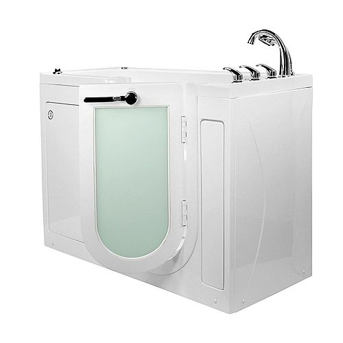 Ella Lounger 5 ft.  Alcove Right Drain Whirlpool and Air Walk-in Bathtub in White, Fast Fill Faucet