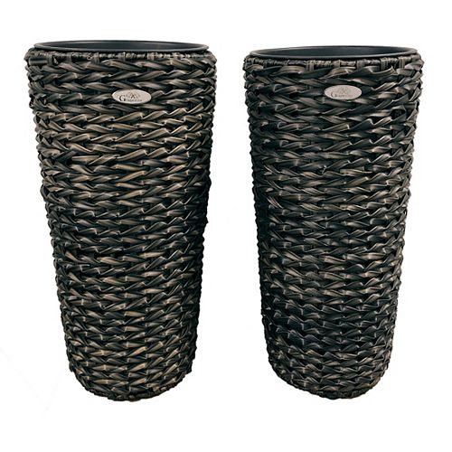 Grapevine Grapevine Twist Wicker Planter, Round (2 pack)