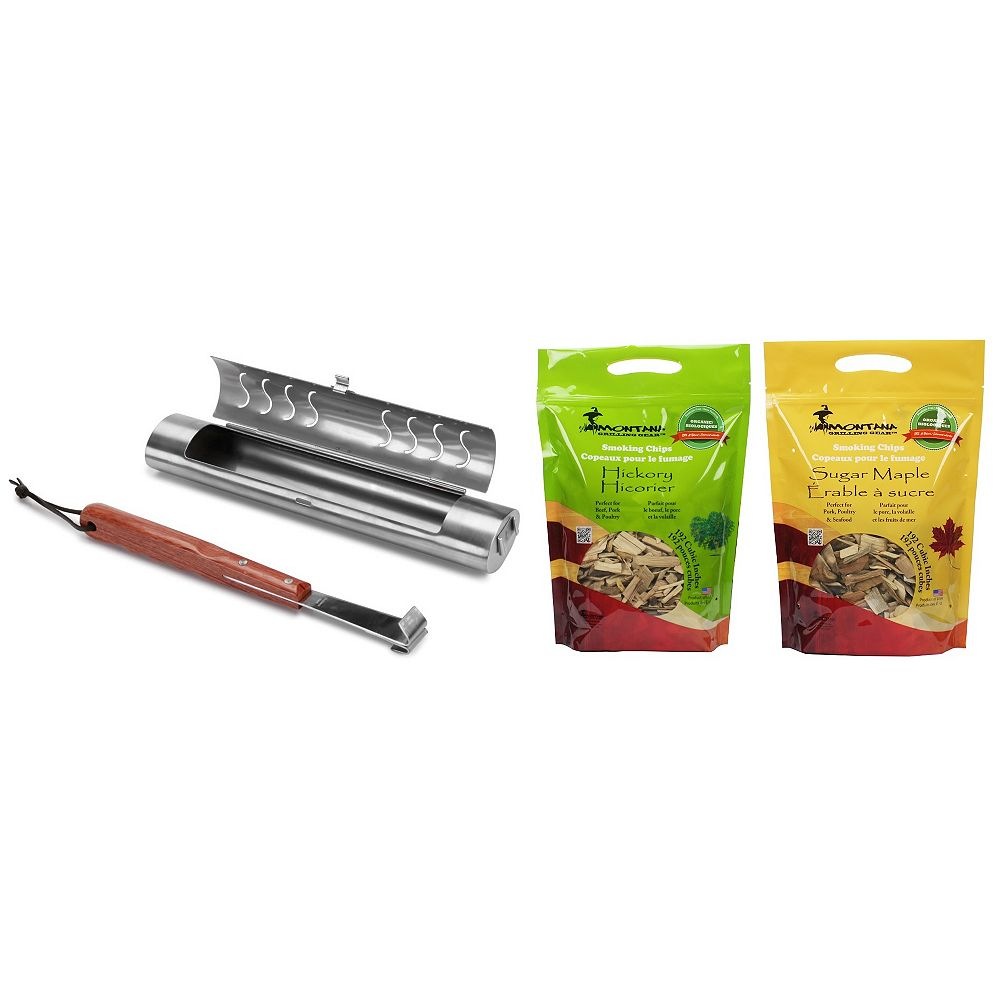 Montana Grilling Gear BBQ Smoker Set Combo Pack Inlcuding 2-lb.-Bag of Hickory Smoking Chips and 2-lb.-Bag of Sugar Maple Smoking Chips