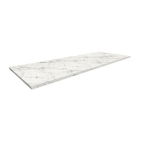 Full Thickness Worktop with ABS Edges 25-inch x 74-inch x 1-inch with 1 Extra End Cap Included - White Marble