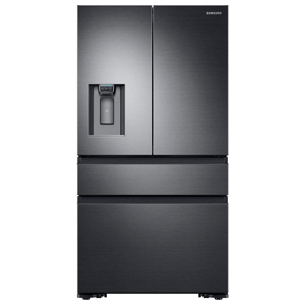 Samsung Réfrigérateur 4 portes françaises de 36 pouces, 22,6 pieds cubes, en acier inoxydable noir, profondeur du comptoir
