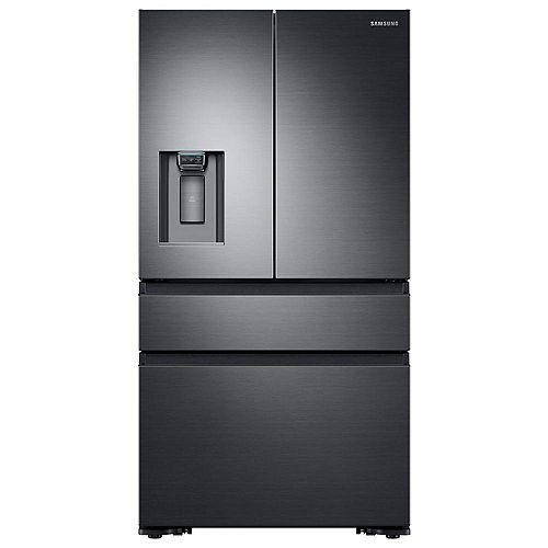 36-inch W 22.6 cu. ft. 4-Door French Door Refrigerator in Black Stainless Steel, Counter Depth