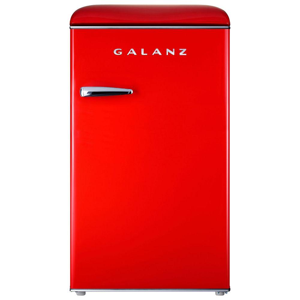 Galanz Retro 3.5 cu.ft. Mini Fridge with Separate Ice Box in Red