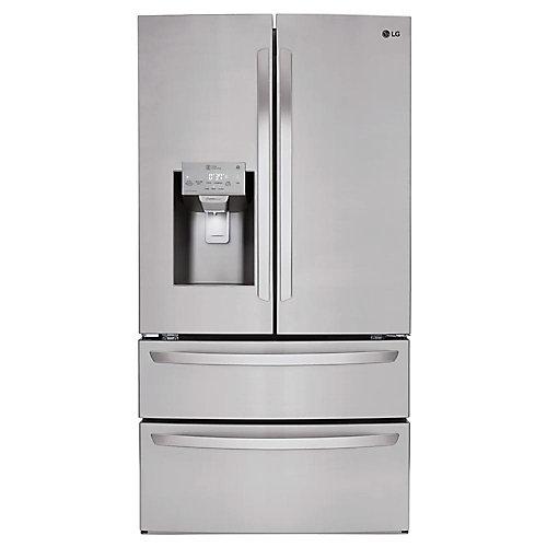 Réfrigérateur intelligent de 28 pi³ avec Wi-Fi et doté d'une porte à deux battants