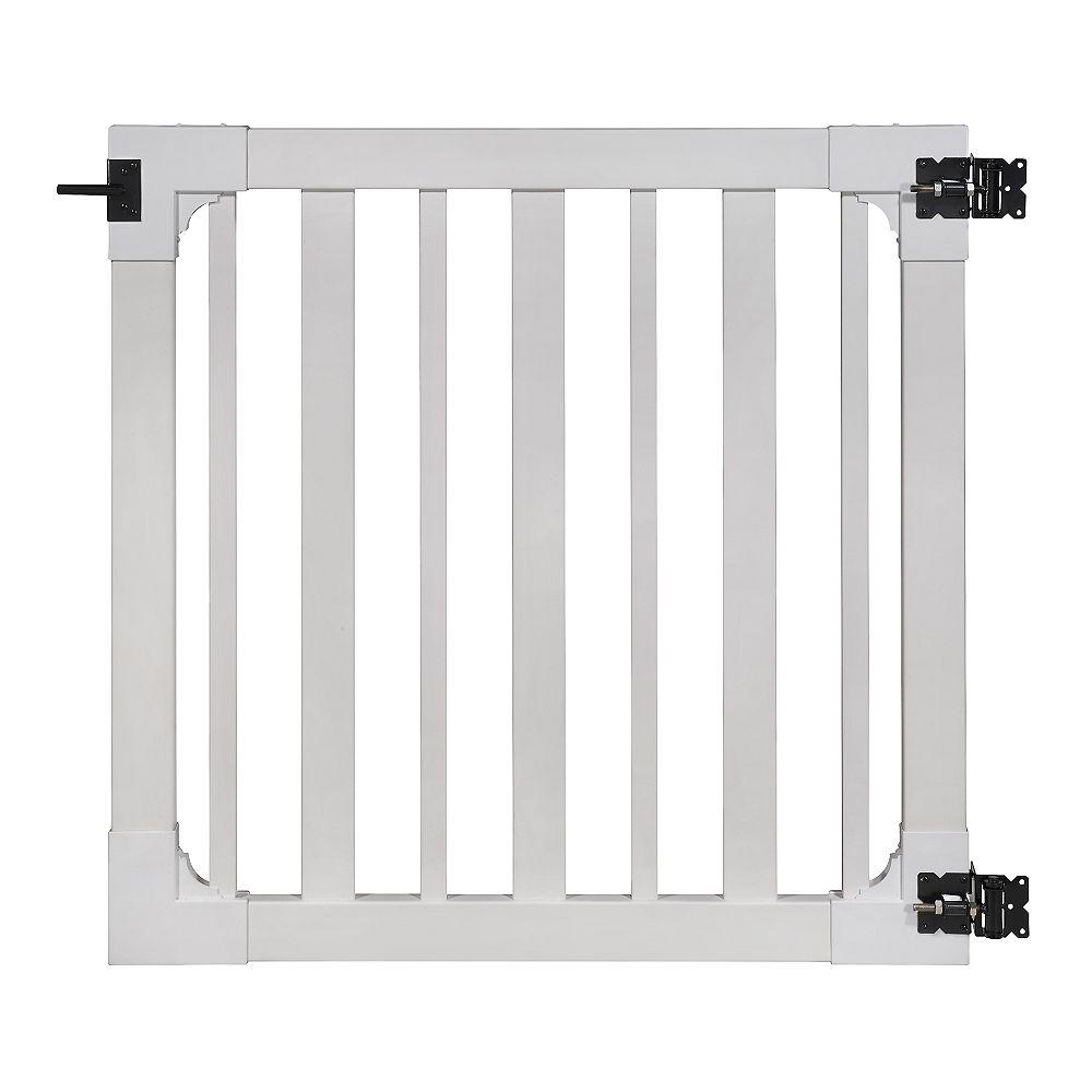 Wambam Traditional Barrière pour cour ou piscine avec quincaillerie en acier inoxydable Sturbridge, 4 pi x 4 pi, vinyle